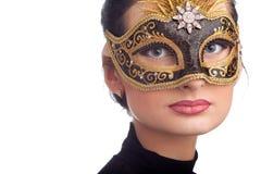 женщина маски масленицы нося Стоковые Изображения RF