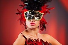 женщина маски масленицы Стоковое Изображение RF