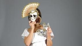 женщина маски venetian акции видеоматериалы