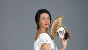 женщина маски venetian сток-видео