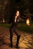 женщина масла ночи светильника Стоковое Изображение