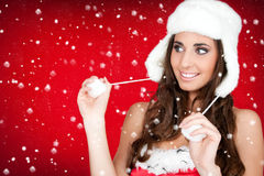женщина мехового снежка santa шлема белая Стоковые Фото