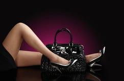 женщина мешка черная модная Стоковое Изображение RF