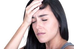 женщина мигрени брюнет стоковое фото