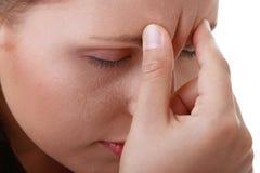женщина мигрени головной боли строгая Стоковое фото RF