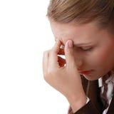 женщина мигрени головной боли строгая Стоковые Изображения