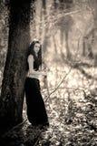 Женщина мифической твари, держа ее шпагу деревом в передней части Стоковое фото RF