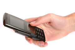 женщина мобильного телефона удерживания руки Стоковое Изображение RF