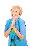женщина мобильного телефона excited старшая Стоковое Изображение