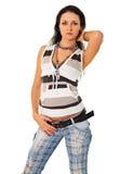 женщина модных джинсыов самомоднейшая стоковая фотография