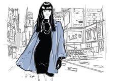 Женщина моды в стиле эскиза с черным котом Стоковые Изображения