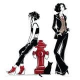 Женщина моды в стиле эскиза с черным котом Стоковое Изображение