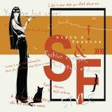 Женщина моды в стиле эскиза с черным котом Стоковые Фотографии RF