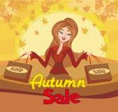 Женщина моды - карточка продажи осени иллюстрация штока