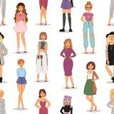 Женщина моды улицы моделирует нарисованные рукой предпосылки картины стилей одежды характеров девушки eamless модные стильные иллюстрация вектора