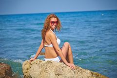 Женщина морем Стоковое Изображение RF