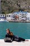 женщина моря компьтер-книжки Стоковая Фотография