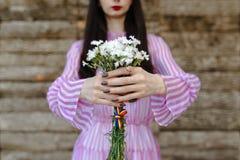 Женщина моды в сексуальном розовом платье Стоковое Фото