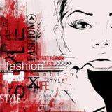 Женщина моды в стиле эскиза Стоковое фото RF