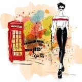 Женщина моды в стиле эскиза Стоковая Фотография
