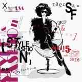Женщина моды в стиле эскиза Стоковая Фотография RF