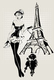 Женщина моды иллюстрации около Эйфелева башни с маленькой собакой Стоковое Изображение