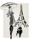 Женщина моды иллюстрации около Эйфелева башни с маленькой собакой Стоковые Изображения RF