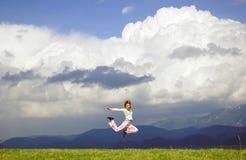 женщина мухы счастливая Стоковое Изображение