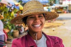 Женщина Мьянмы Smiley Стоковое Изображение RF