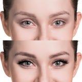 Женщина наблюдает перед и после расширением ресницы стоковое фото rf