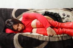 женщина нажатия Стоковое Изображение