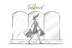 Женщина нарисованная рукой стильная с хозяйственными сумками Стоковое Изображение RF