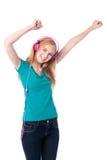 Женщина наслаждаясь ее музыкой Стоковые Фото