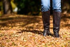 Женщина наслаждаясь листьями падения стоковое фото