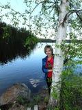Женщина на березе Стоковая Фотография RF