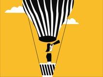 Женщина на горячем воздушном шаре иллюстрация штока