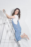 Женщина на лестнице Стоковые Фотографии RF