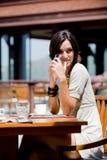 Женщина на завтраке Стоковые Фото