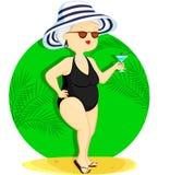 Женщина на каникуле Иллюстрация штока