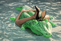женщина на море с раздувным тюфяком Ботинки от кожи крокодила Женский тюфяк владением ног в бассейне Способ Стоковая Фотография RF