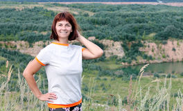 Женщина на озере Стоковые Фотографии RF