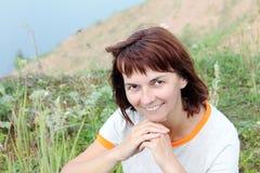 Женщина на озере Стоковое Изображение