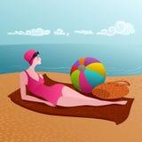 Женщина на песчаном пляже иллюстрация вектора