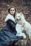 Женщина на прогулке зимы с собакой стоковое фото rf