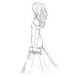 Женщина на платье вечера держа муфту иллюстрация штока