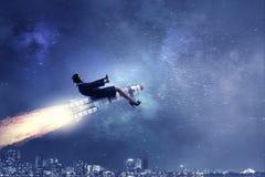 Женщина на ракете космоса Мультимедиа Стоковое Фото