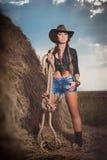 Женщина на сене Стоковая Фотография RF