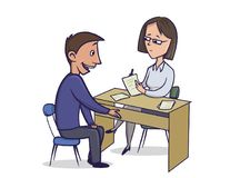 Женщина на столе слушает к человеку и делает примечания Человек говорит к женщине сидя таблицей Вектор персонажа из мультфильма иллюстрация штока