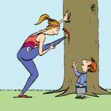 Женщина на тренировке спорт и мальчик Стоковое фото RF