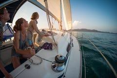 Женщина на яхте Стоковое фото RF